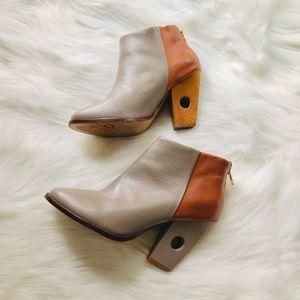 nina payne leather & wood halsey cut out boots